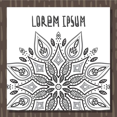 Black&white mandala hand drawn ink postcard vector background Ilustracja