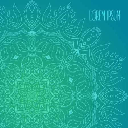 Turquoise thin hand drawn mandala postcard background vector
