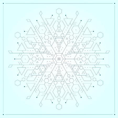 Light blue geometric minimalistic modern vector snowflake Ilustracja
