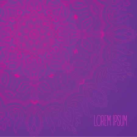 Purple and pink tender mandala postcard background vector Ilustracja