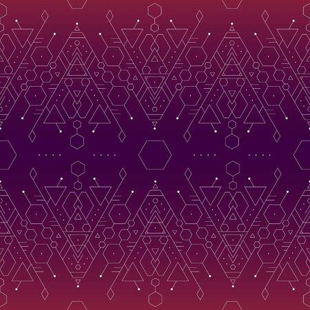 Seamless minimalistic tattoo glowing purple and pink vector background