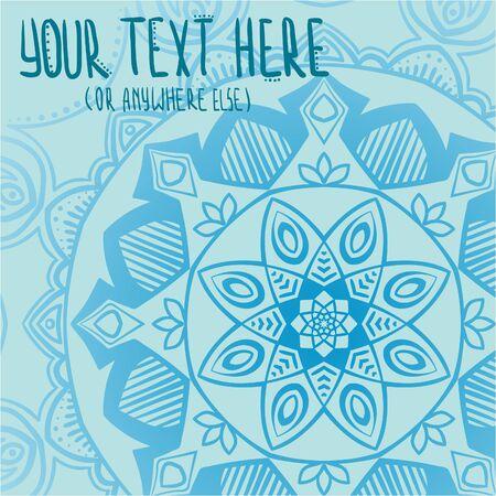 Baby blue tender mandala postcard vector illustration