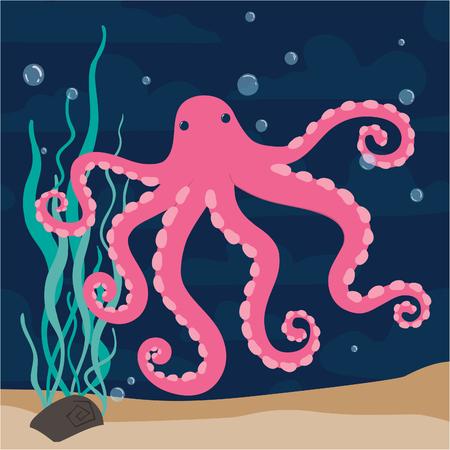 Pink funny cartoon octopus marine vector illustration
