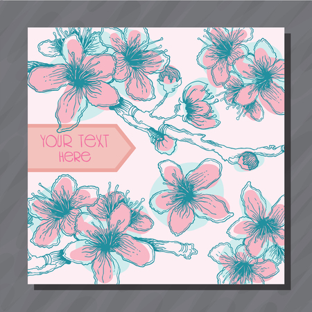 Postcard with pink and blue hand-sketched cherry flowers vector illustration