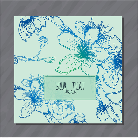 Postcard with blue hand-sketched cherry flowers vector postcard Ilustracja