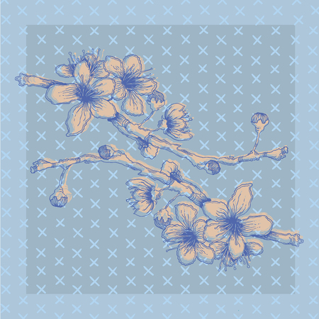 Hand-sketched blue branch with flowers postcard vector background