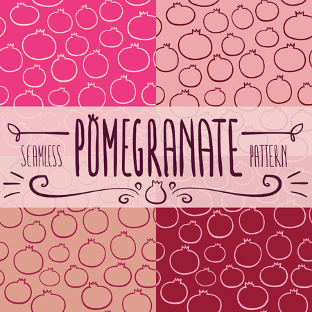 Hand drawn seamless pink Pomegranate pattern set made of four vector background