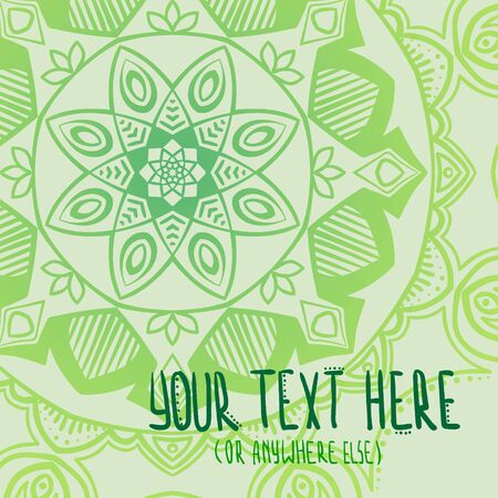 Green tender  mandala abstract vector postcard background Ilustracja