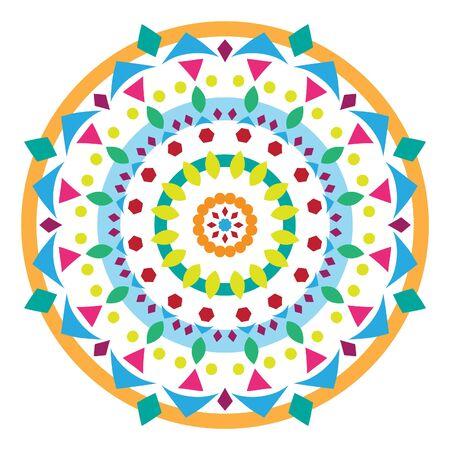 Minimalistic bright geometric mandala vector illustration on white