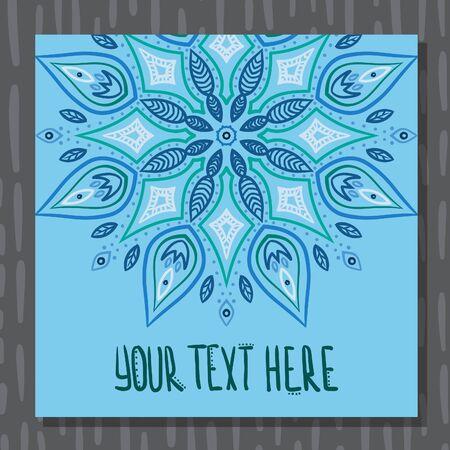 Blue mandala hand drawn invitation postcard vector