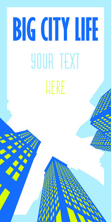 Vertical vector illustration with skyscrapers with bright colors