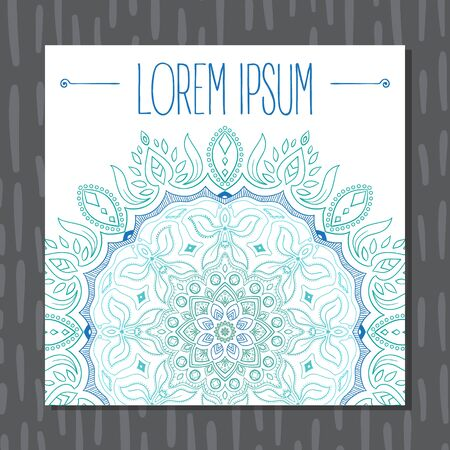 Blue and green mandala postcard background vector illustration