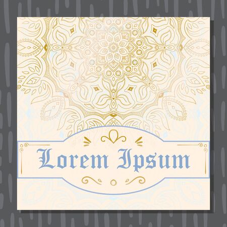 Golden mandala wedding invitation design card vector illustration