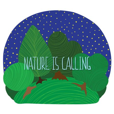 Nature is calling vector illustration with night forest scene