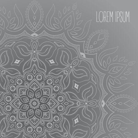 Grey and white mandala postcard vector background