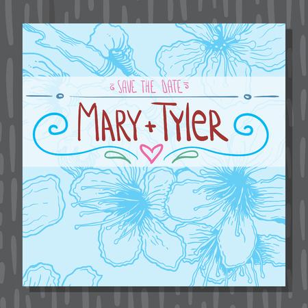 Hand drawn wedding invitation blue postcard with flowers Ilustracja