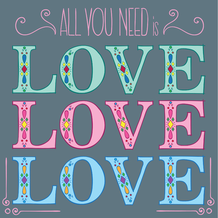 All you need is LOVE postcard hand drawn letters Ilustracja