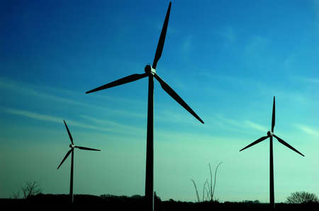 Wind power turbines and blue sky Stock Photo - 4143619