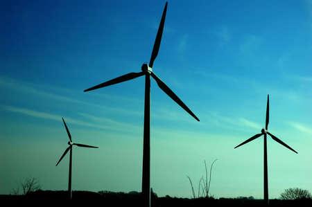 Wind power turbines and blue sky Stock Photo - 4143619