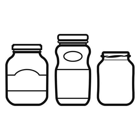 encurtidos: Iconos frasco aislado en el fondo blanco Vectores