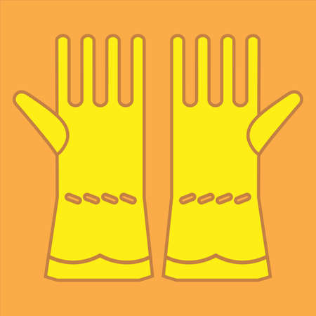 protective gloves: Two yellow rubber gloves on colour background