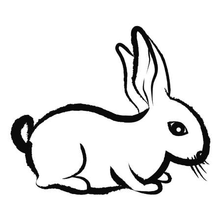 er: Bunny silhouette isolated on white background Illustration