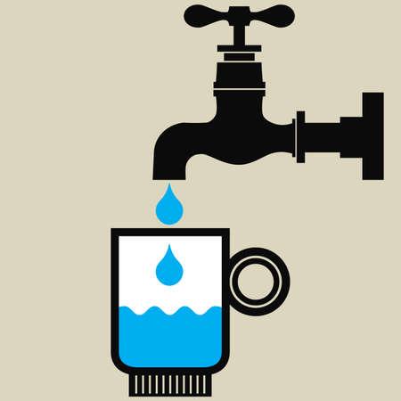 kunststoff rohr: Illustration von einem Glas mit Trinkwasser und einen Wasserhahn mit Wassertropfen