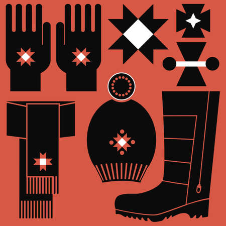 pompon: Winter accessories set with folklore elements
