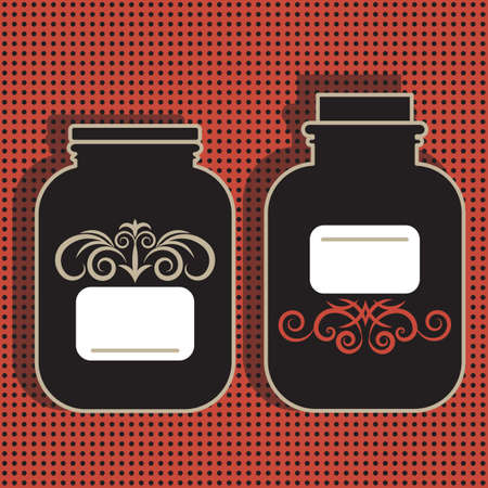 confiture: Pair of jar silhouettes isolated on red background with dots and shadows