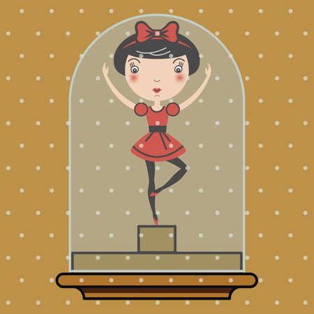 Snowglobe illustration with a ballerina inside Vector
