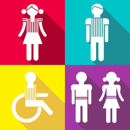Flat people icons with shadows  isolated on color bckgrounds  Vector