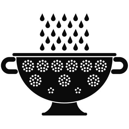 Silhouette of a colander with water drops, isolated on white background