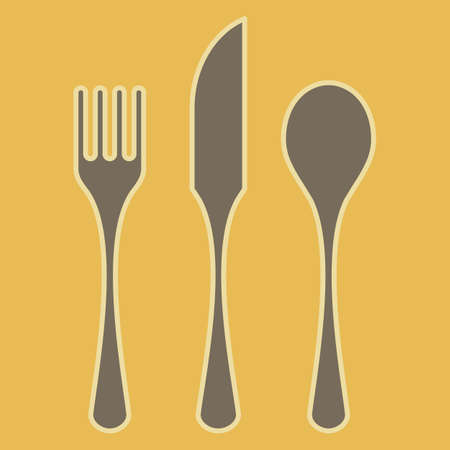 Fork, spoon and knife silhouettes, with contour, isolated on color background  Vector