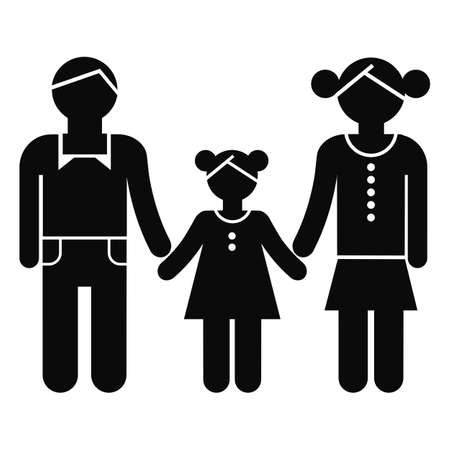 black family: Family silhoutte in black isolated on white background Illustration