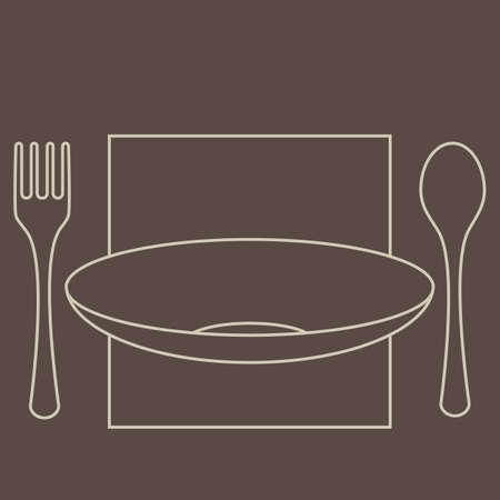 Fork, spoon and plate silhouettes, isolated on dark background  Vector