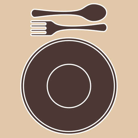 Fork, spoon and plate silhouettes, isolated on light background  Vector