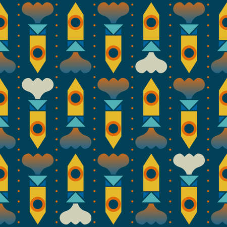 Colorful pattern with rocket shapes  All colors in separated layers, easy to edit  Gradient used for the smoke shapes  Vector