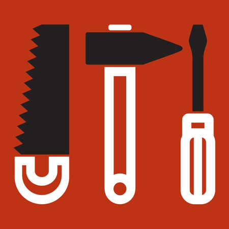 turn screw: Tool silhouettes, isolated on color background  Illustration