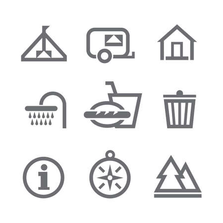 Set of nine camping icons, isolated on white background  Vector
