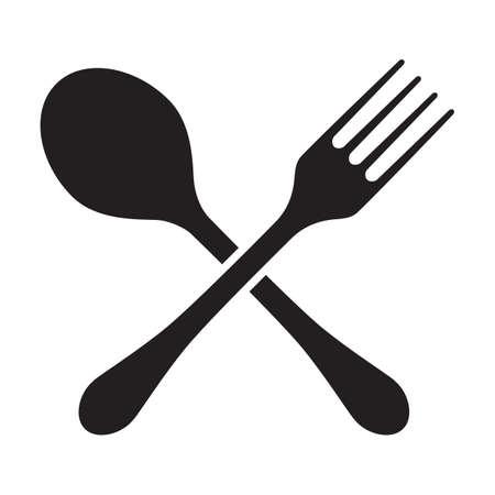 Tenedor y cuchara cruzadas siluetas, aisladas sobre fondo blanco