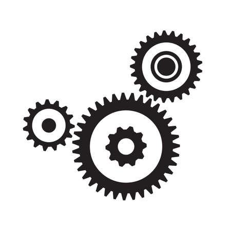 gears icon: Set of three gears, isolated on white background