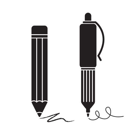 pencil symbol: Silhouettes of pencil and pen, isolated on white background  Illustration
