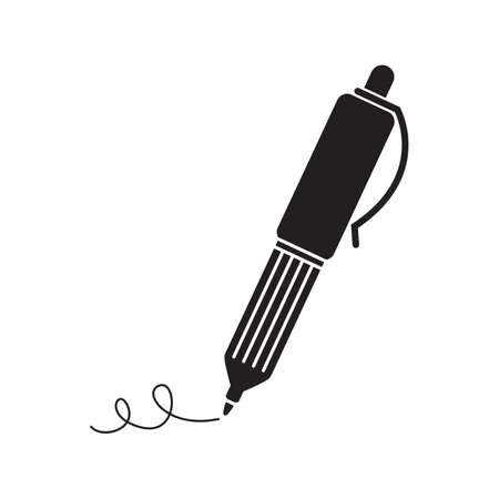 Pen silhouette in black, isolated on white background  Vector