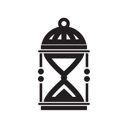 sand clock: Sabbia orologio silhouette, isolato su sfondo bianco Vettoriali