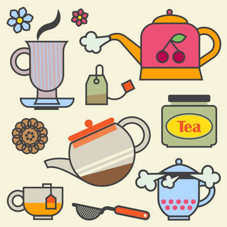 strainer: Cute tea time elements, isolated on color background