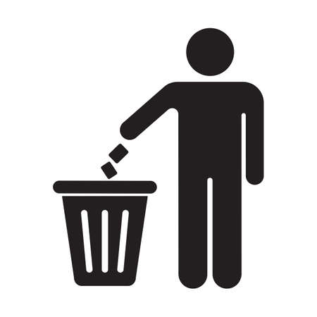 Silhouette of a man, throwing garbage in a bin, isolated on white background. Keep clean symbol. Stock Illustratie