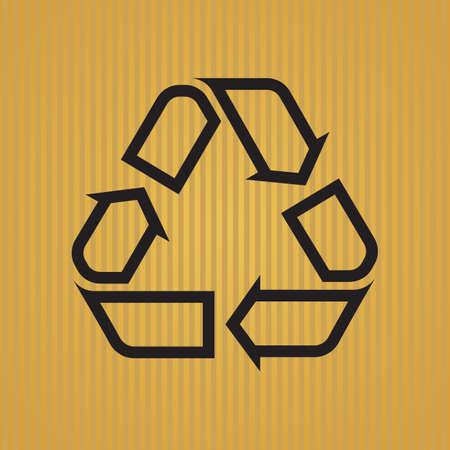 outlined isolated: S�mbolo de reciclaje esboz�, aislado en el fondo de rayas color.