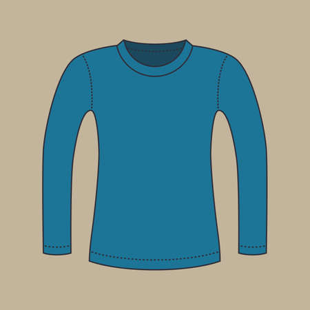 blue shirt: Color silhouette of a blank blue shirt with long sleeves, isolated on light grey background. Illustration