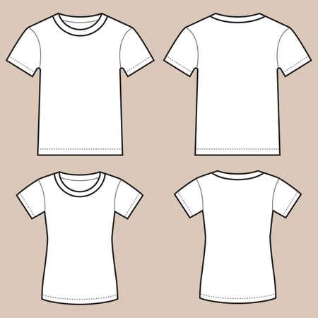 Set unbelegte männlichen und weiblichen Shirts- Vorder- und Rückseite, isoliert auf hellfarbigen Hintergrund. Vektorgrafik