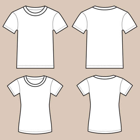 Set of blank male and female shirts- front and back, isolated on light colored background.